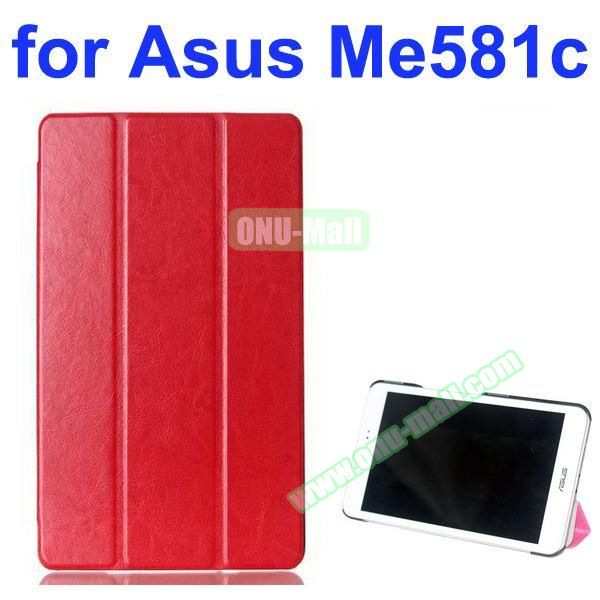 Crazy Horse Texture 3 Folding Pattern Flip Leather Case for Asus MeMO Pad 8 ME581C (Red)