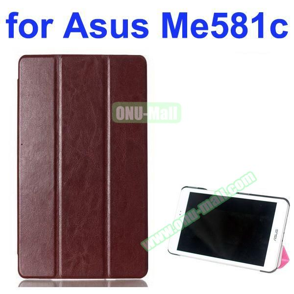 Crazy Horse Texture 3 Folding Pattern Flip Leather Case for Asus MeMO Pad 8 ME581C (Coffee)
