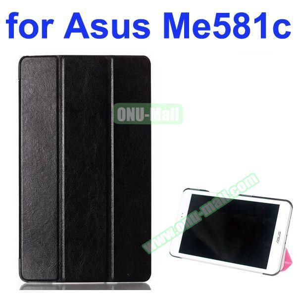 Crazy Horse Texture 3 Folding Pattern Flip Leather Case for Asus MeMO Pad 8 ME581C (Black)