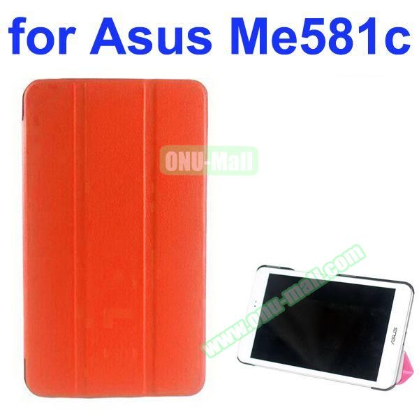 Karst Texture 3 Folding Pattern Stand Leather Case for Asus MeMO Pad 8 ME581C (Orange)