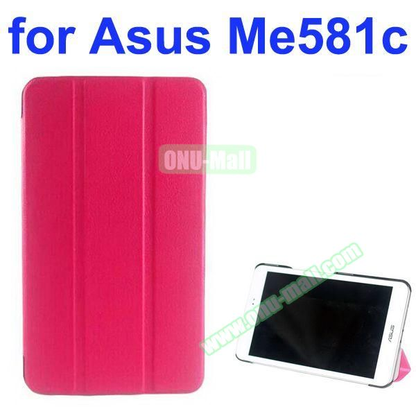 Karst Texture 3 Folding Pattern Stand Leather Case for Asus MeMO Pad 8 ME581C (Rose)