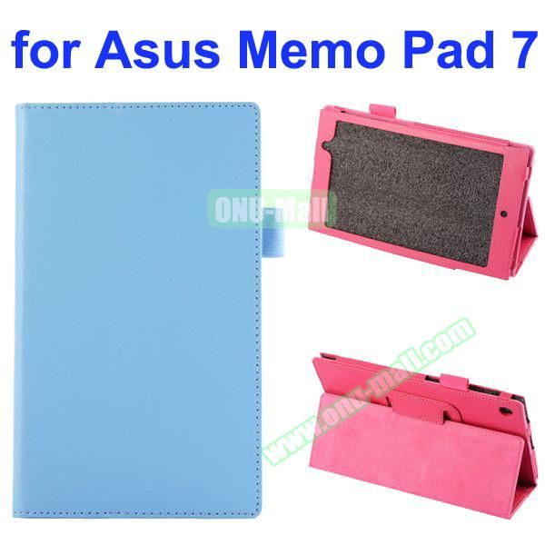 Litchi Texture Full-body Protective PU Leather Case for Asus MeMo Pad 7 ME572CL with Stand (Light Blue)