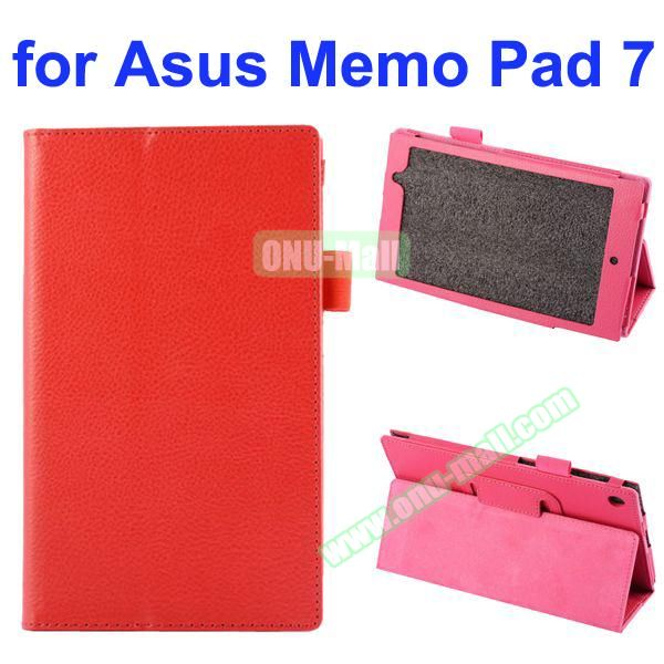 Litchi Texture Full-body Protective PU Leather Case for Asus MeMo Pad 7 ME572CL with Stand (Red)