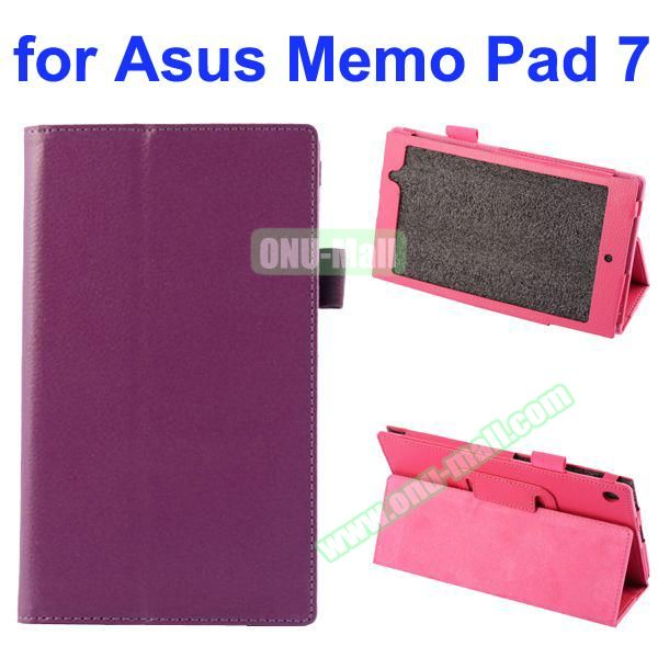 Litchi Texture Full-body Protective PU Leather Case for Asus MeMo Pad 7 ME572CL with Stand (Purple)