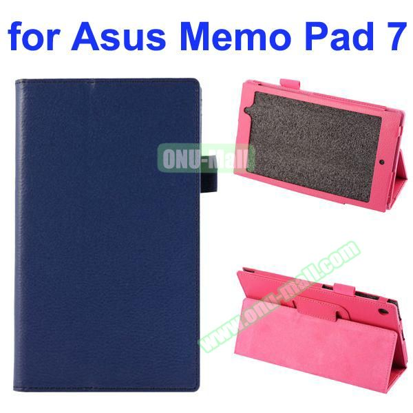 Litchi Texture Full-body Protective PU Leather Case for Asus MeMo Pad 7 ME572CL with Stand (Dark Blue)