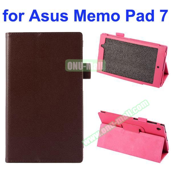 Litchi Texture Full-body Protective PU Leather Case for Asus MeMo Pad 7 ME572CL with Stand (Brown)