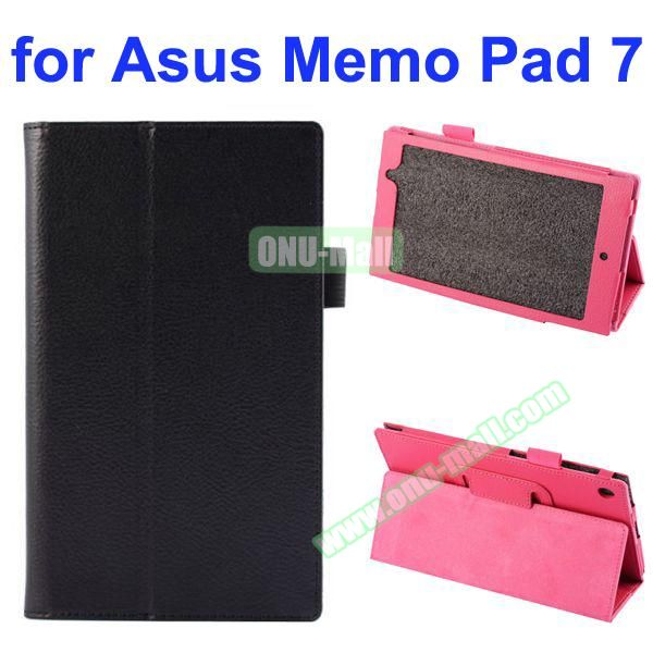 Litchi Texture Full-body Protective PU Leather Case for Asus MeMo Pad 7 ME572CL with Stand (Black)