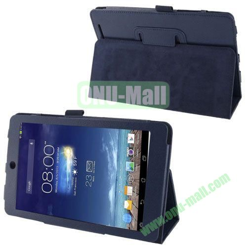 Hot Selling Lichi Texture Leather Case for Asus MeMo Pad 8ME180A with Holder (Dark Blue)