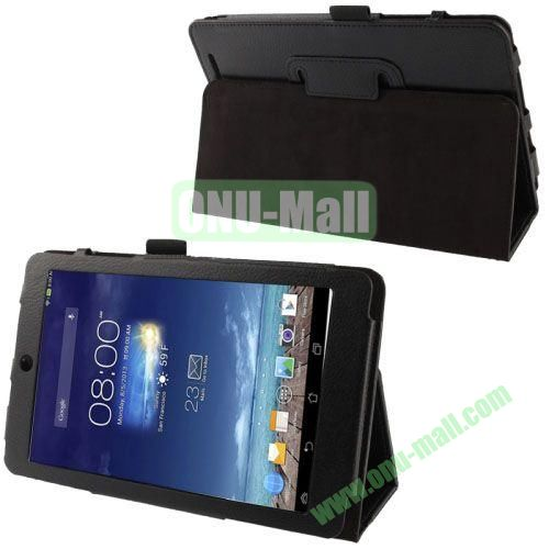 Hot Selling Lichi Texture Leather Case for Asus MeMo Pad 8ME180A with Holder (Black)