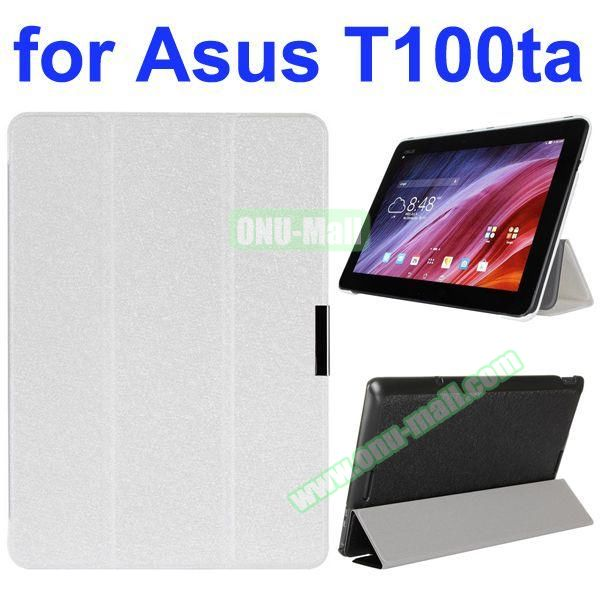 Shiny Powder Pattern 3-Folding Ultra Thin PU Leather Case for Asus Transformer Book T100TA (White)
