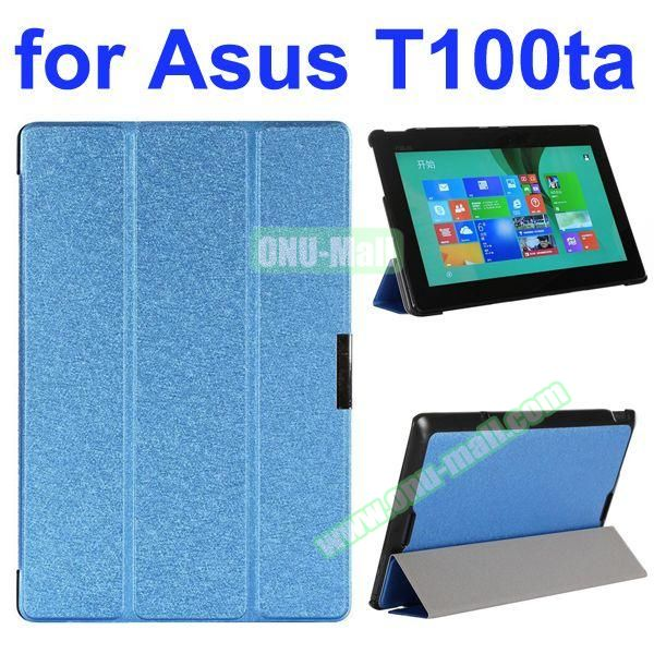 Shiny Powder Pattern 3-Folding Ultra Thin PU Leather Case for Asus Transformer Book T100TA (Blue)