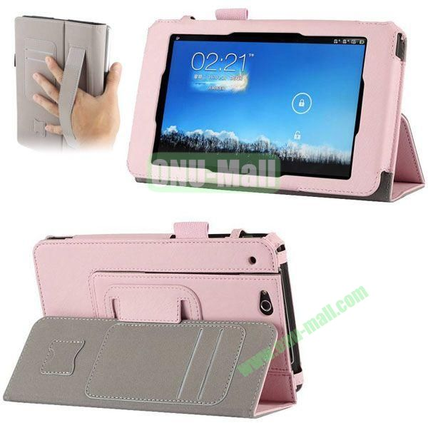 Crazy Horse Texture Leather Case for Asus Padfone Mini with Card Slots and Holder & Armband (Pink)