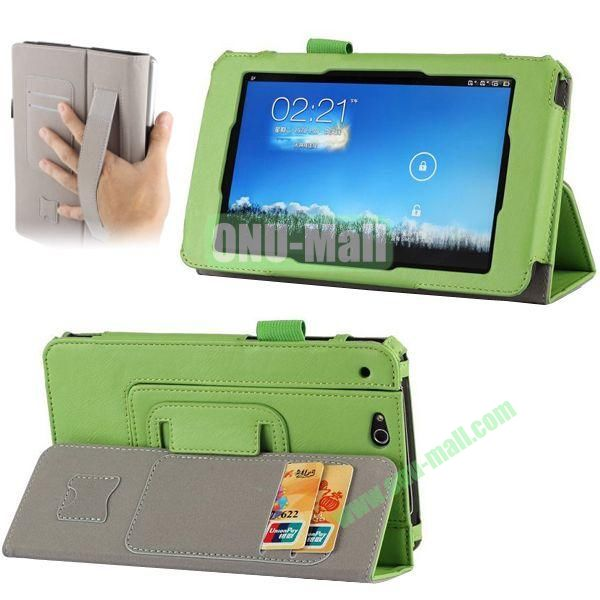 Crazy Horse Texture Leather Case for Asus Padfone Mini with Card Slots and Holder & Armband (Green)