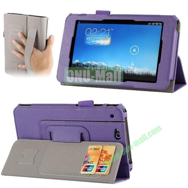 Crazy Horse Texture Leather Case for Asus Padfone Mini with Card Slots and Holder & Armband (Purple)
