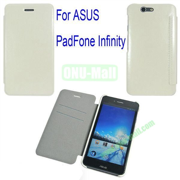 Genuine Flip Leather Case Cover for ASUS PadFone Infinity (PadFone 3)with Card Slots(White)
