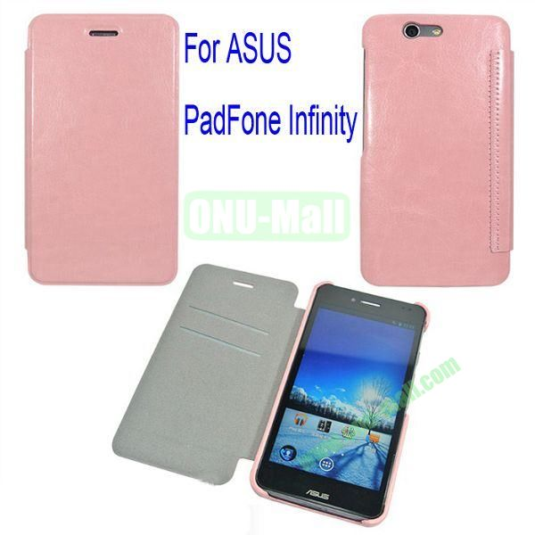 Genuine Flip Leather Case Cover for ASUS PadFone Infinity (PadFone 3)with Card Slots(Pink)