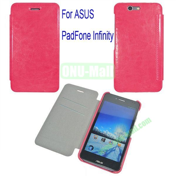 Genuine Flip Leather Case Cover for ASUS PadFone Infinity (PadFone 3)with Card Slots(Rose)