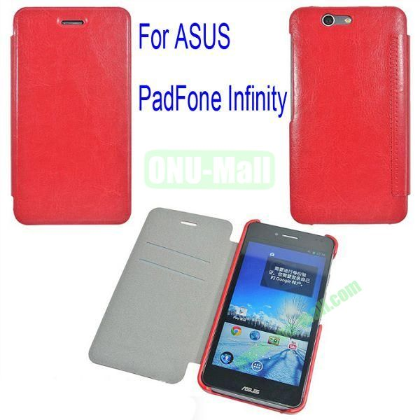 Genuine Flip Leather Case Cover for ASUS PadFone Infinity (PadFone 3)with Card Slots(Red)