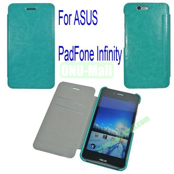 Genuine Flip Leather Case Cover for ASUS PadFone Infinity (PadFone 3)with Card Slots(Green)