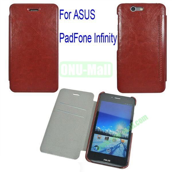 Genuine Flip Leather Case Cover for ASUS PadFone Infinity (PadFone 3)with Card Slots(Brown)