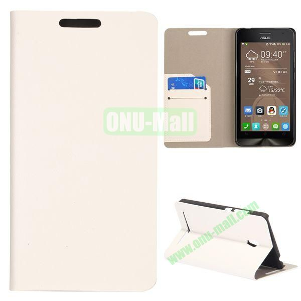 High Quality Stylish Card Slot Flip Leather Case for ASUS ZenFone 6 (White)