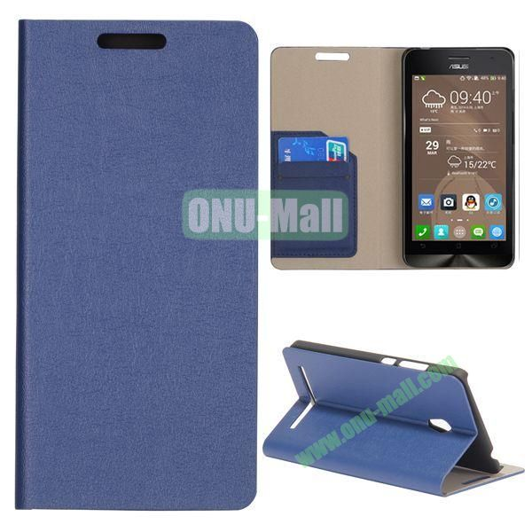 High Quality Stylish Card Slot Flip Leather Case for ASUS ZenFone 6 (Dark blue)