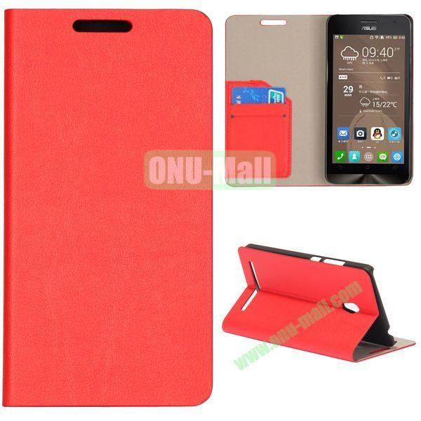 High Quality Stylish Card Slot Flip Leather Case for ASUS ZenFone 6 (Red)