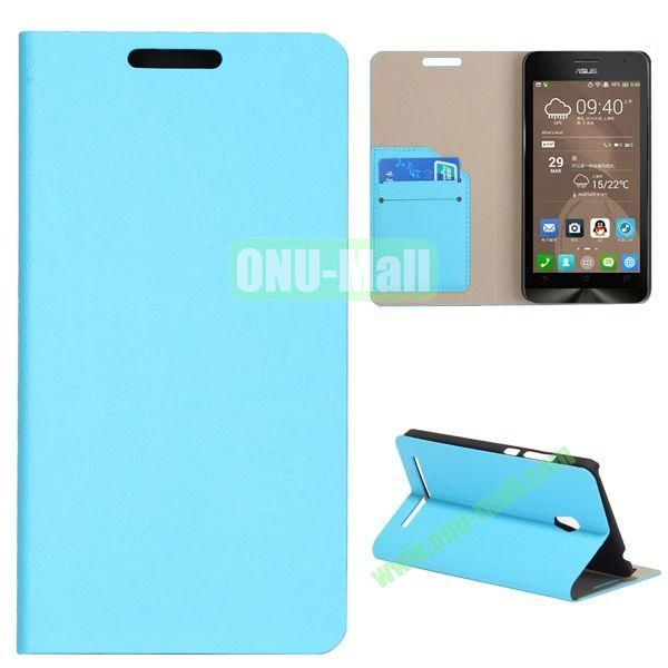 High Quality Stylish Card Slot Flip Leather Case for ASUS ZenFone 6 (Light blue)