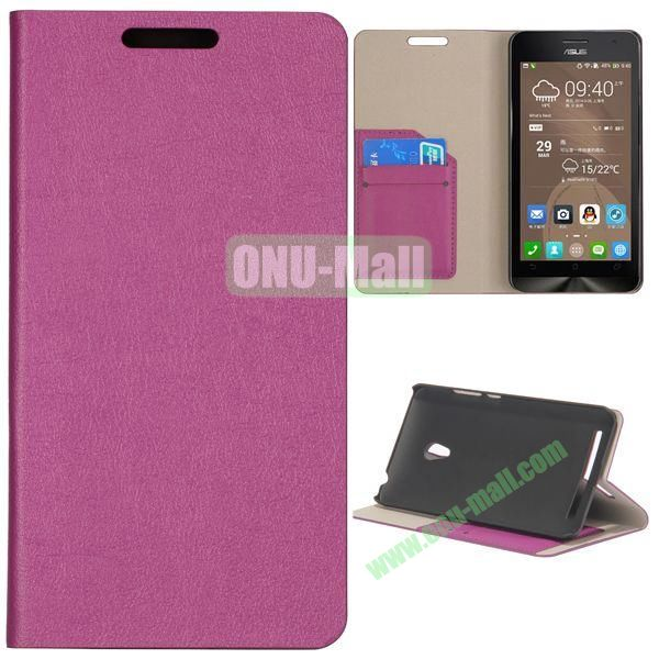 High Quality Stylish Card Slot Flip Leather Case for ASUS ZenFone 6 (Purple)