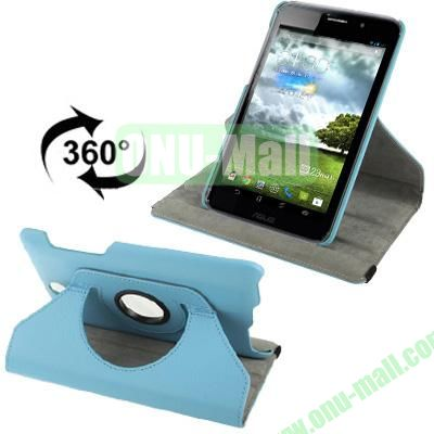 360 Degree Rotatable Lichi Texture Stand Leather Case for ASUS FonePad ME371 (Blue)