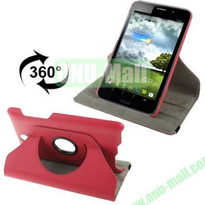 360 Degree Rotatable Lichi Texture Stand Leather Case for ASUS FonePad ME371 (Magenta)