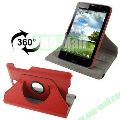 360 Degree Rotatable Lichi Texture Stand Leather Case for ASUS FonePad ME371 (Red)