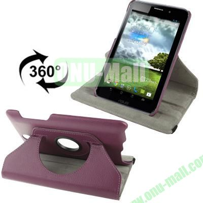 360 Degree Rotatable Lichi Texture Stand Leather Case for ASUS FonePad ME371 (Purple)