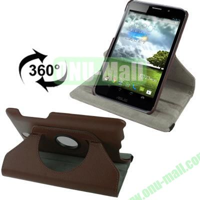 360 Degree Rotatable Lichi Texture Stand Leather Case for ASUS FonePad ME371 (Brown)