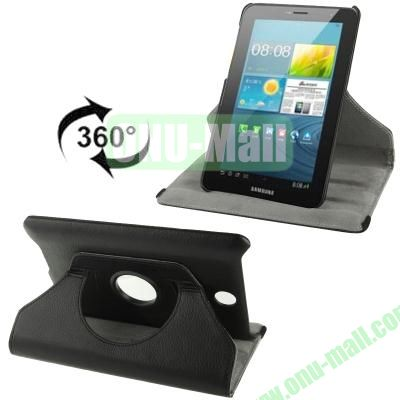 360 Degree Rotatable Lichi Texture Stand Leather Case for ASUS FonePad ME371 (Black)