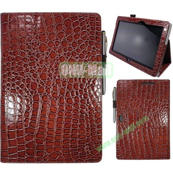 Crocodile Texture Leather Case for Asus VivoTab Smart ME400C with Holder (Brown)