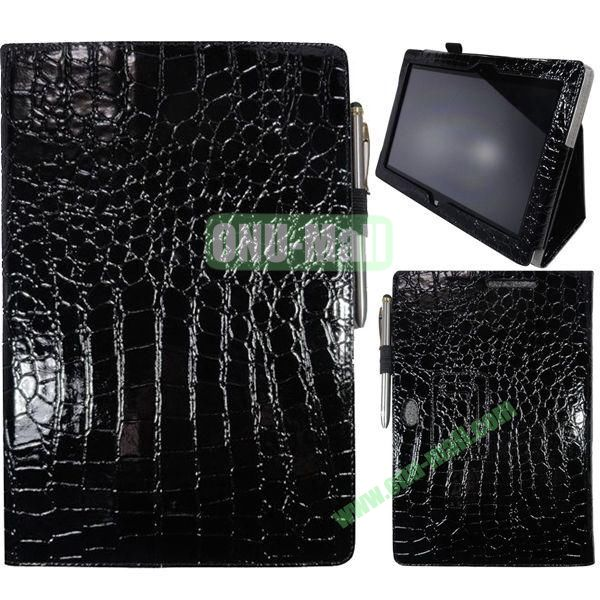 Crocodile Texture Leather Case for Asus VivoTab Smart ME400C with Holder (Black)