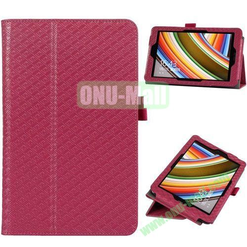 2014 New Arrival Gird Pattern Leather Case for Vivo Tab Note 8 M80TA with Stand (Magenta)