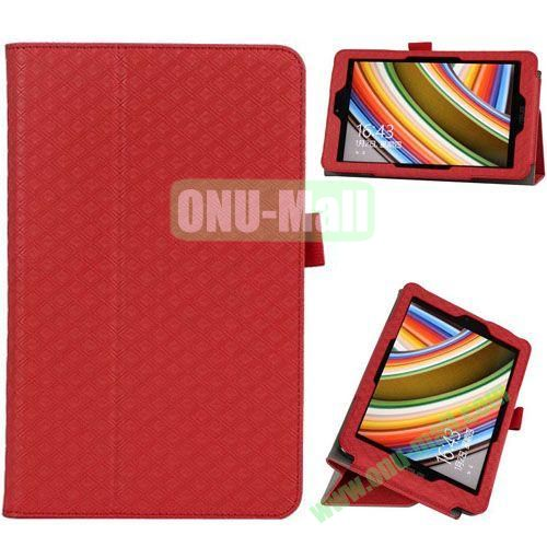 2014 New Arrival Gird Pattern Leather Case for Vivo Tab Note 8 M80TA with Stand (Red)