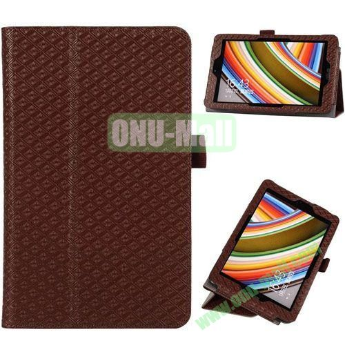2014 New Arrival Gird Pattern Leather Case for Vivo Tab Note 8 M80TA with Stand (Brown)