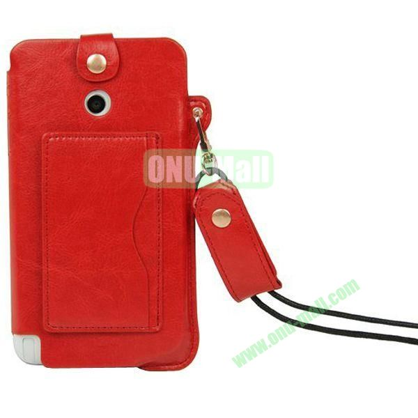 Litchi Texture Leather Pouch Bag for Asus Fonepad Note 6ME560CG with Pocket and Lanyard (Red)