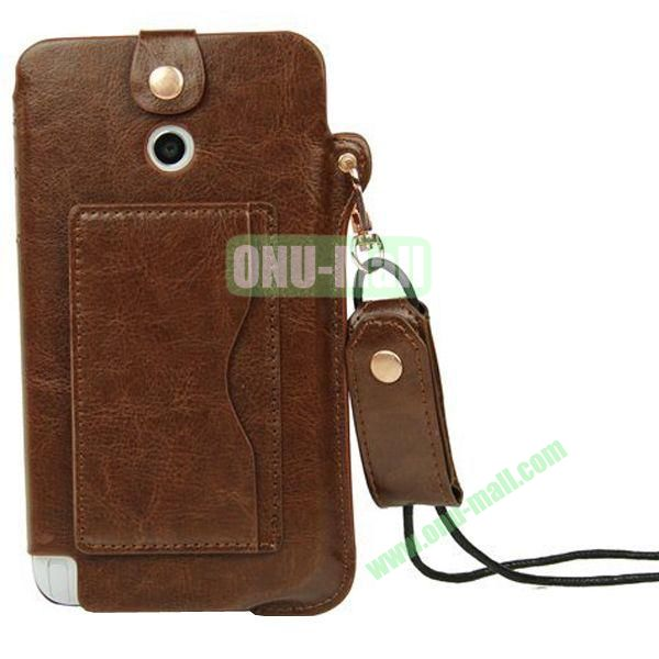 Litchi Texture Leather Pouch Bag for Asus Fonepad Note 6ME560CG with Pocket and Lanyard (Brown)