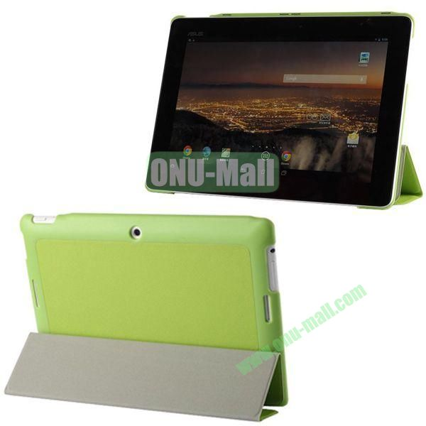 3-folding Fashion PU Material Leather Case for Asus MeMO Pad FHD 10ME302C (Green)