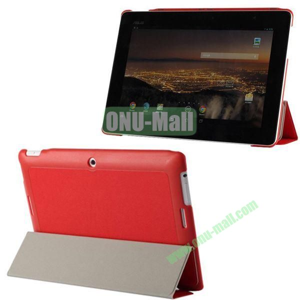 3-folding Fashion PU Material Leather Case for Asus MeMO Pad FHD 10ME302C (Red)