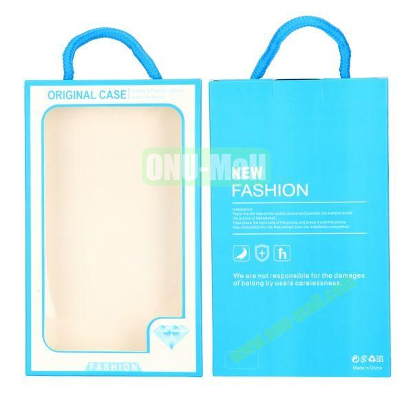 New Fashion Transparent PVC Cellphone Package Box with Strap (Blue)