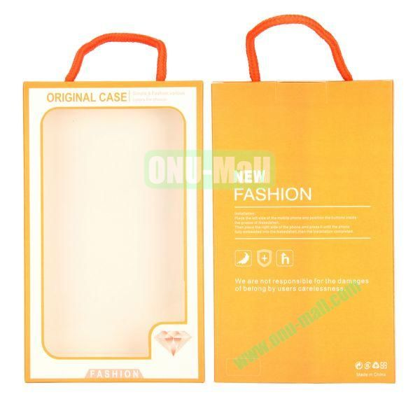 New Fashion Transparent PVC Cellphone Package Box with Strap (Orange)
