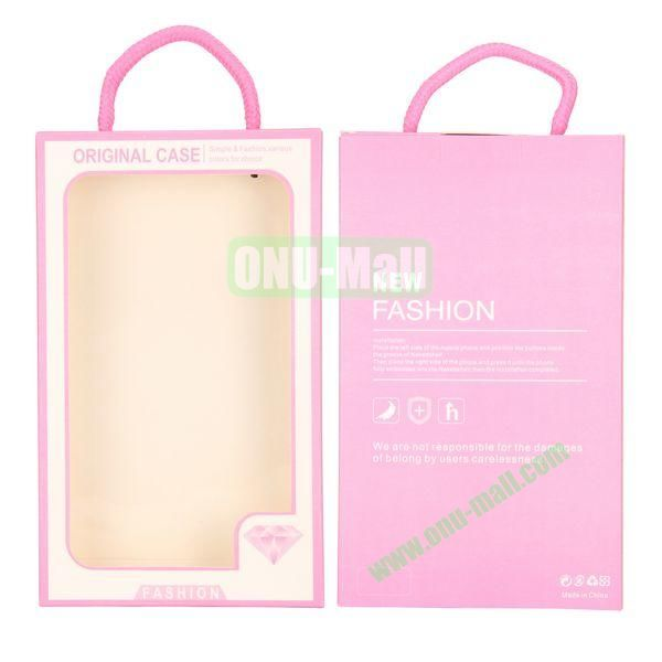 New Fashion Transparent PVC Cellphone Package Box with Strap (Pink)