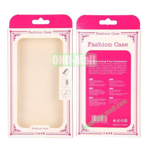 10.5x17.7x1.8cm Fashion Package Case Transparent PVC Cellphone Packing Box with inner Plastic Frame (Rose)