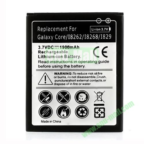 3.7V 1900mAh Rechargeable Battery for Samsung Galaxy Core I8260 I8262 I8268