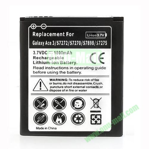 3.7V 1800mAh Rechargeable Li-ion Battery for Samsung Galaxy Ace 3 S7270 S7275 S7272